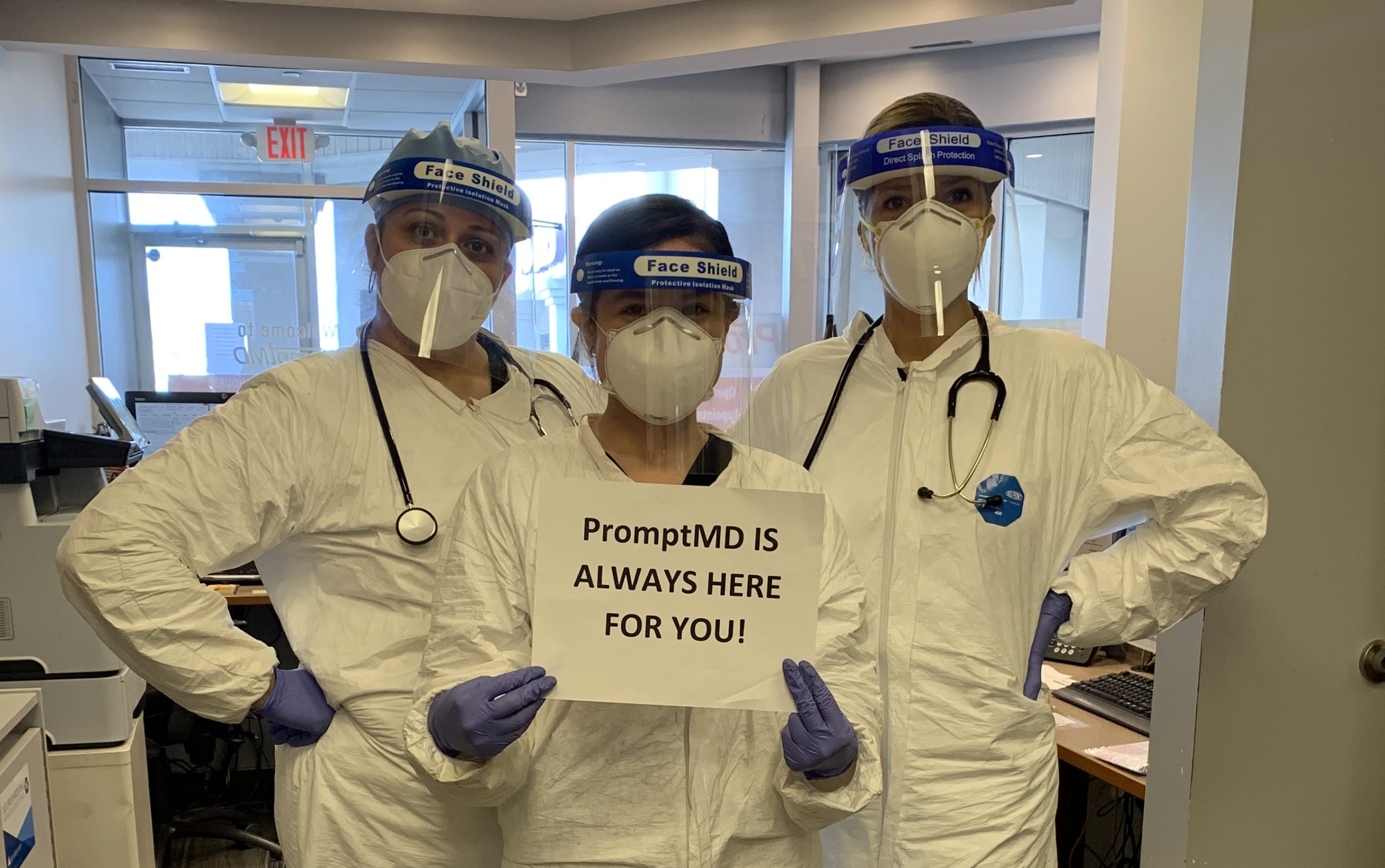 COVID-19 services doctors in PPE  - PromptMD Urgent Care - Hoboken, Jersey City, Edgewater