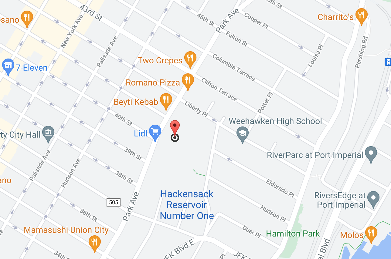 google map showing general location of weehawken urgent care